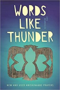 """The cover of a book with the silhouette of two coyotes touching noses. Title text reads, """"Words Like Thunder: New and Used Anishinaabe Prayers"""""""